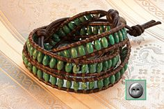 Leather Wrap Bracelet, Natural Turquoise 3x5mm Rice Beads  Wraps 3x, Semiprecious Stones, Brown Leather, Handmade Pewter Button, Turquoise by OceanAirStudio on Etsy