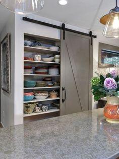 Contemporary Pantry with Built-in bookshelf, Barn door, Classic barn door hardware