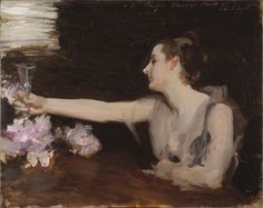 "Madame Gautreau Drinking a Toast"". Painting of Virginie Amélie Gautreau by John Singer Sargent (Isabella Stewart Gardner Museum, Boston - US)"