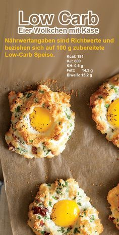 Low Carb Eier-Wölkchen mit Käse Low Carb Eggs Clouds with Cheese - GesundeRezepte. Healthy Protein Snacks, Low Carb Protein, High Protein, Menu Dieta Paleo, Law Carb, Low Carb Biscuit, Vegetarian Recipes, Healthy Recipes, Cheap Recipes