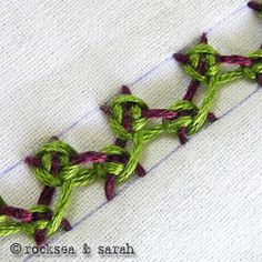 Embroidery Tutorials Laced Herringbone Stitch by Sarah's Hand Embroidery Tutorials Medieval Embroidery, Learn Embroidery, Ribbon Embroidery, Cross Stitch Embroidery, Embroidery Stitches Tutorial, Embroidery Techniques, Embroidery Patterns, Crazy Quilt Stitches, Needlepoint Stitches