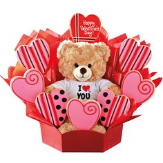 The perfect Valentine's Day gift combination! Delicious cookies surround a cuddly full sized teddy bear from Build-A-Bear Workshop.