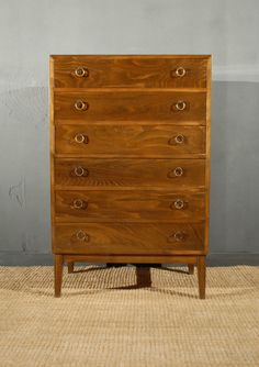 Danish Tallboy Chest of Drawers Walnut Pine Vintage Retro