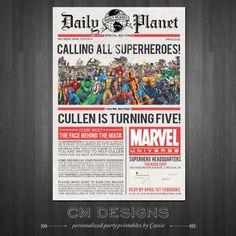 Superhero/Newspaper Birthday Invite With or by DesignsbyCassieCM