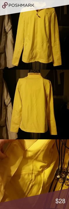 "Talbots Active wear zip up sz Small Gorgeous bright yellow zip up active wear top Perfect condition from a smoke and pet free home  Structured look with two side slit pockets  89% cotton / 11% spandex  Approx Measurements :  Bust 17.5"" Underarm to underarm  Length 23.5"" Shoulder seam to hem  Arm 24"" Shoulder seam to cuff Talbots Tops Sweatshirts & Hoodies"