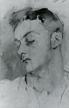 John Singer Sargent - Albert de Belleroche c. 1883 267 x 165 mm Sepia ink and wash on paper