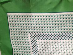Vintage Green and White Scarf with Geometric Pattern