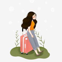 Cartoon Illustration Watercolor Luggage Girl Luggage Travel Watercolor Girl Luggage Travel Illustration Watercolor Girl Outdoor PNG and PSD Travel Illustration, Illustration Girl, Graphic Design Illustration, Cartoon Drawings, Cartoon Art, Cute Drawings, Travel Doodles, Doodle Girl, Watercolor Girl