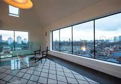 Grand Designs: The Water Tower, Kennington, London, SE1. Fantastic episode with some visionary in the owner. This room was the original water tank [8 floors up!] £4.75m