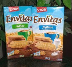 Envitas Frühstückskekse, Sorten Kakao und Joghurt. Frühstückskekse: Getreidekekse mit Cremefüllung und Haselnussgeschmack. Erhältlich sind die Doppelkekse mit Cremefüllung in den Geschmacksrichtung...