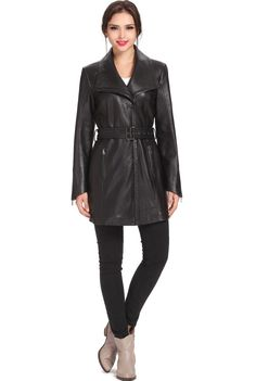 "Jessie G. Women's ""Fiona"" Asymmetrical Zip Up Lambskin Leather Coat. Check out this great style for $389.99 on Luxury Lane. Click on the image above to get a coupon code for 10% off on your next order."