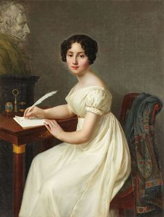 Alix de Montmorency, Duchesse de Talleyrand. Henri François Riesener (French, 1767-1828). Oil on canvas. Anne Charles Francois de Montmorency made his debut in the army in 1785 and in 1788, he married Anne Louise Caroline Goyon de Matignon (1774-1846) with whom he had a daughter, Alix de Montmorency (1810-1858), who married in 1829 Louis de Talleyrand-Perigord, the future Duke of Talleyrand. When this painting was done, Alix could have been no older than 18.