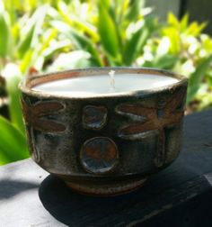 Stoneware Ceramic Tea Bowl Cup Natural Soy Wax by BigBearPottery, $36.00