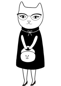 Happy cat with a happy purse - by artist Audrey Jeanne