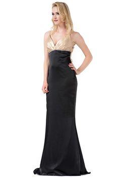 Long V neck Black Sheath Evening Dress with Spaghetti Straps and Unusual Back Closure JSLD0284