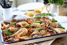 Langpanne med kylling, grønnsaker og pesto