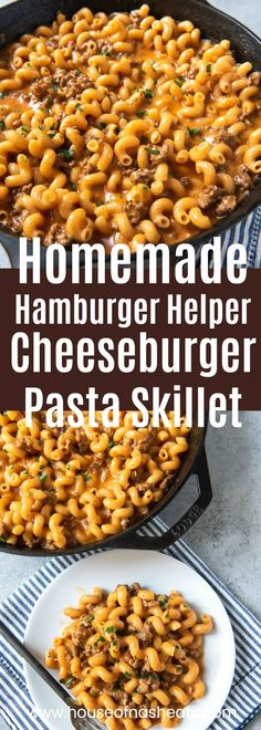 One of our go-to dinner recipes when we are in the throes of busy school schedules and extracurricular activities and I haven't planned ahead is this Homemade Hamburger Helper Cheeseburger Pasta Skillet made with browned ground beef, shredded cheddar chee Healthy Recipes, Top Recipes, Easy Dinner Recipes, Easy Meals, Cooking Recipes, Supper Recipes, Cookbook Recipes, Easy Noodle Recipes, Easy Beef Recipes