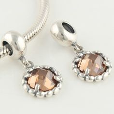 Soufeel Champagne Round Crystal Dangle Charm 925 Silver Pandora Compatible $16