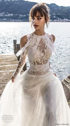 Weddinginspirasi.com featuring - pinella passaro 2018 bridal cold shoulder long sleeves halter neck jewel neck heavily embellished bodice elegant romantic a line wedding dress covered lace back chapel back (7) zv mv -- Pinella Passaro 2018 Wedding Dresses #wedding #weddings #bridal #weddingdress #weddingdresses #bride #fashion #italy #label:PinellaPassaro #week:482017 #year:2018 ~