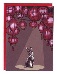 .Bunny with Chinese lanterns