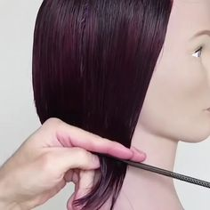How do you create your angled bobs? I overdirect hair to the back using a comb for control, leaving length and weight in the front to personalize. Use the comb to bring the hair to your shears, and pa Red Bob Hair, Curly Hair Cuts, Short Hair Cuts, Curly Hair Styles, Hair Cutting Videos, Hair Cutting Techniques, Hair Videos, Makeup Techniques, Angled Bobs
