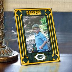 Green Bay Packers Art Glass Vertical Picture Frame. #greenbay #packers #nfl