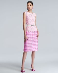 Gojee - Lace Tweed Combo Dress by Oscar de la Renta
