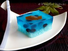 Fish jello. We did this for Reggie's preschool snack once on beach day. We put them in small clear plastic cups - used blue jello and gummy fish and the kids LOVED them!