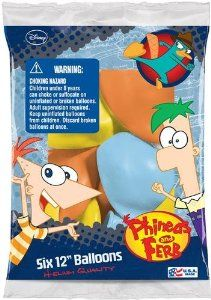 """Amazon.com: Phineas and Ferb Party Supplies 12"""" Latex Balloons - 6 Each: Toys & Games"""