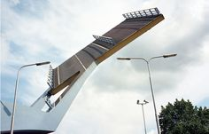 """""""Flying Drawbridge """" -The Slauerhoffbrug fully automatic bascule bridge (aka tail bridge) in Leeuwarden. Lifts a section of road; doing away with typical hinged mechanisms."""