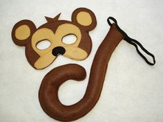 Children's Safari Animal MONKEY Felt Mask and Tail Set sold by Magical Attic. Diy Monkey Costume, Monkey Costumes, Animal Costumes, Felt Crafts, Crafts To Make, Zoo Crafts, Fox Ears And Tail, Lion King Musical, Monkey Mask