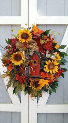 Handmade Wreath Fall Wreath Grapevine by TheChicyShackWreaths