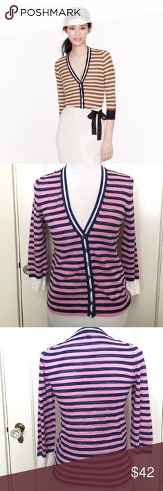 J. Crew Striped Gauze Cardigan Blue & Pink We had this twisted crepe yarn specially developed to create our finest layering pieces yet, then added a touch of slub cotton into the mix for a delicate texture. Whisper thin, it's just right for layering (bonus points for the skinny, subtly wavy stripe).  True to size. Cotton slub/nylon in a 12-gauge knit. Hits at hip. Bracelet sleeves. Rib trim at neck, cuffs and hem. Machine wash. Great condition no signs of wear J. Crew Sweaters