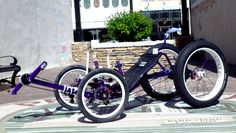 Purple Mega Quad from Utah Trikes - This super quad has everything, extra large tires, custom seat, USB power outlet, accessory mounts, and Nuvinci gearing components. #recumbent #trike #utahtrikes