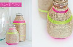 DIY String Bottles. Love the neon pop!