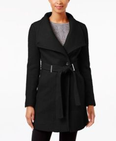 Calvin Klein Wool-Blend Asymmetrical Walker Coat | macys.com