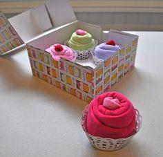 cupcakes de toalha de bebe