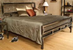 The Classic bed from Boltz is practically an architectural structure. The metal bed frame is forged from steel. The steel bed frame is easily assembled Welded Furniture, Iron Furniture, Steel Furniture, Home Furniture, Furniture Design, Furniture Plans, Furniture Chairs, Garden Furniture, Outdoor Furniture