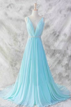 Light Blue Chiffon Prom Dress 2016, #prom, #promdresses, #promdresses2016