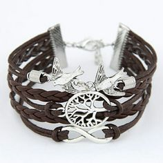 Leather Braided Tree of Life Infinity Love Dove A beautiful satement piece signifying unity and long life.  Material: Leather and Zink alloy  Length: 22cm  Color: brown and silver Jewelry Bracelets