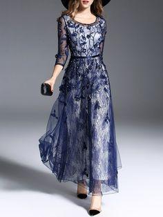 Shop Maxi Dresses - Navy Blue Beaded Crew Neck A-line Elegant Maxi Dress online. Discover unique designers fashion at StyleWe.com.