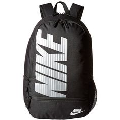Nike Classic North Backpack (Black/Black/White) Backpack Bags ($35) ❤ liked on Polyvore featuring bags, backpacks, nike, rucksack bags, polyester backpack, nike bags and zip bag