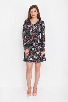 Rochie neagra cu imprimeu floral BRITISH-N -  Ama Fashion British, High Neck Dress, Dresses For Work, Floral, Fashion, Turtleneck Dress, Moda, Fashion Styles, Flowers