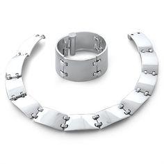 Hermes 18K White Gold 2.40ctw Diamond Necklace Bracelet Set @ Oakgem.com