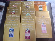 Centenary gold editions of Beatrix Potter's Peter Rabbit series of books released to celebrate the year of each of their publication dates. Tales Of Beatrix Potter, Peter Rabbit, Exhibitions, Fairytale, Dates, Books, Gold, Livros, Libros