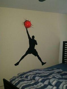 Michael jordan jump man slam dunk new canvas 24x16 20x12 for Boys basketball bedroom ideas