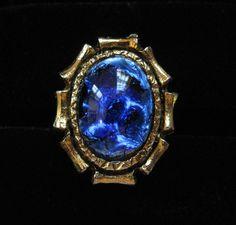 Blue Foil Glass Cocktail Ring Adjustable by Elsewind on Etsy, $23.00  #vjse2 #vintage #jewelry #boebot2 #bestofetsy
