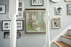 Love this gallery wall...modern black and white with a little punch of vintage!