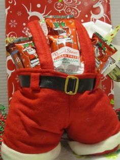 Heres a hard to find gift for the diabetic or for the dieter the sugar free diabetic candy holiday santa pants for christmas w chocolate cookies caramel corn more negle Images