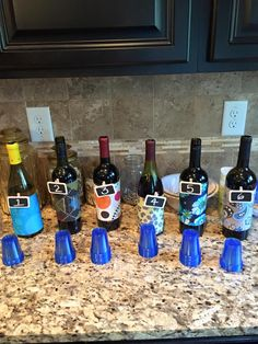 I use fabric swatches to conceal the wine labels to give it a true Thirty-One flare!  So cute!